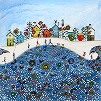 Beach Huts & Flowers 3, Happy Days. An Open Edition Print by Anya Simmons.