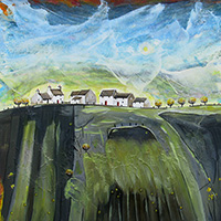 Cymru Green Valley Cottages. An Open Edtion Print by Anya Simmons.