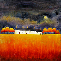 Dancing Moon Cottages. An Open Edtion Print by Anya Simmons.