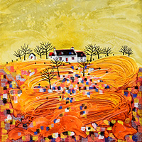 Irish Thatched Cottage Donegal. A mixed media original by Anya Simmons