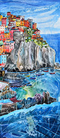 Manarola, Italy. A mixed media original by Anya Simmons.