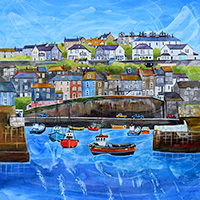 Mevagissey Harbour. An Open Edtion Print by Anya Simmons.
