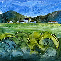 Newlands Valley Cottage. A mixed media original by Anya Simmons