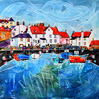 Pittenweem Harbour, Fife. A mixed media original by Anya Simmons.