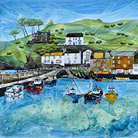 Polperro Harbour, Cornwall. An Open Edition Print by Anya Simmons.