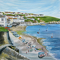 Portscatho, Cornwall. An Open Edition Print by Anya Simmons.