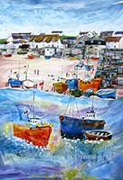 Sennen Cove, Cornwall. A mixed media original by Anya Simmons.