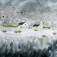 Snow Blossom Cottage. An Open Edtion Print by Anya Simmons.