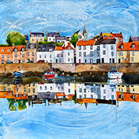 St Monans, Fife. A mixed media original by Anya Simmons.