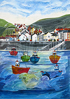 Staithes, North Yorkshire. A mixed media original by Anya Simmons
