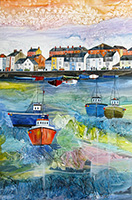 Weymouth Harbour, Dorset. A mixed media original by Anya Simmons.