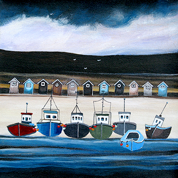 Beach Hut Bay. An Open Edtion Print by Anya Simmons.