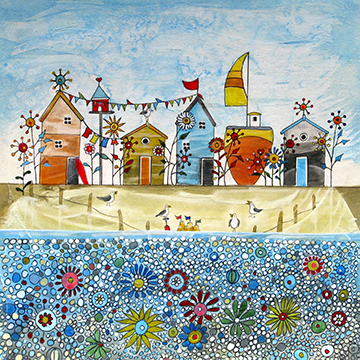 Beach Huts & Flowers. An Open Edition Print by Anya Simmons.