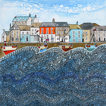 Padstow Harbour-Bobbing Along. An open edition print by Anya Simmons.
