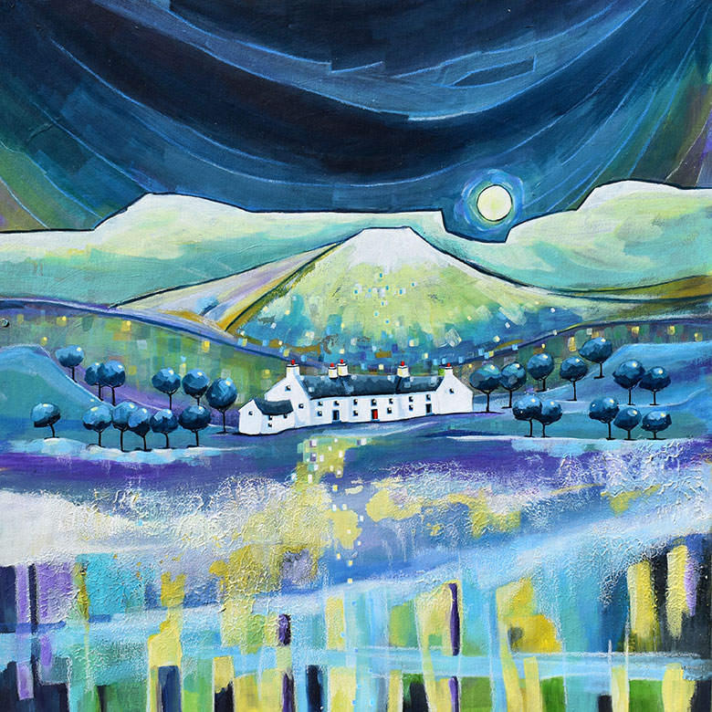 Moonrise Mountain Cottages. A mixed media original by Anya Simmons