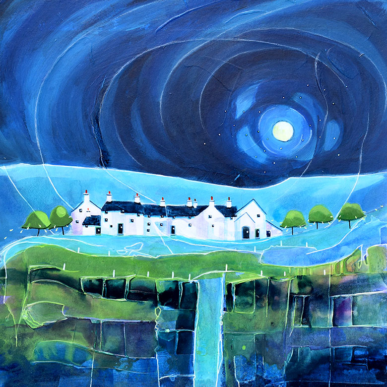Moonlight Trail Cottages. A mixed media original by Anya Simmons.