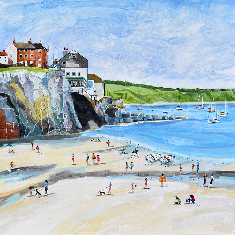 Cawsand, Cornwall. A mixed media original by Anya Simmons.