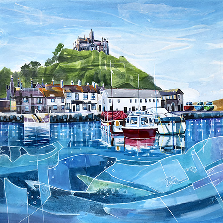 St Michaels Mount, Cornwall. A mixed media original by Anya Simmons.