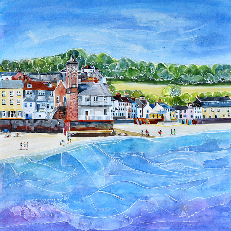 Kingsand, Cornwall. A mixed media original by Anya Simmons.