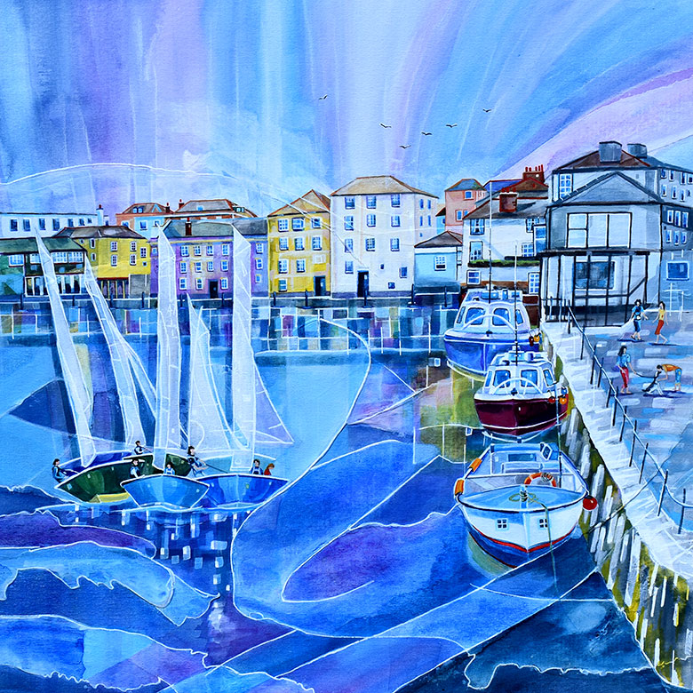 Falmouth Harbour 2, Cornwall. A mixed media original by Anya Simmons.