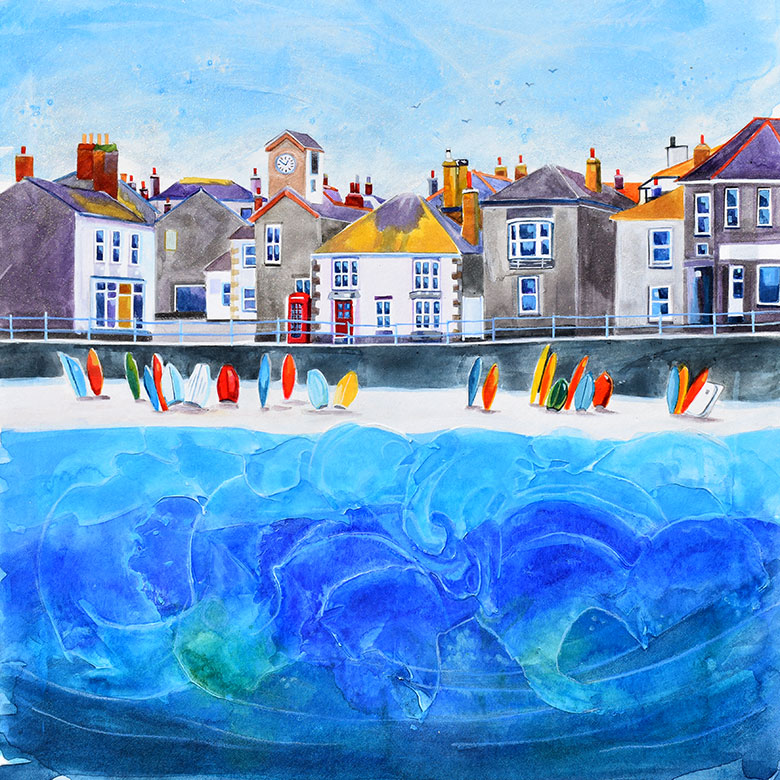 Mousehole 3, Cornwall. A mixed media original by Anya Simmons.